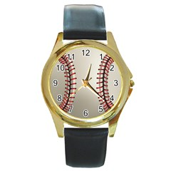 Baseball Round Gold Metal Watch by BangZart