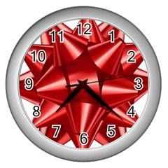 Red Bow Wall Clocks (silver)  by BangZart
