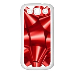 Red Bow Samsung Galaxy S3 Back Case (white) by BangZart