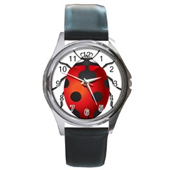 Ladybug Insects Round Metal Watch by BangZart