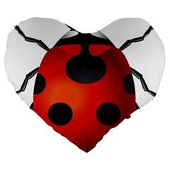 Ladybug Insects Large 19  Premium Heart Shape Cushions by BangZart