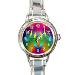 Colorful Easter Egg Round Italian Charm Watch by BangZart