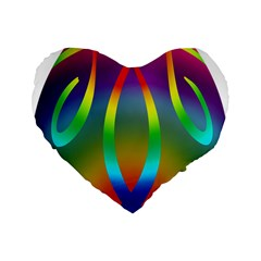 Colorful Easter Egg Standard 16  Premium Flano Heart Shape Cushions by BangZart
