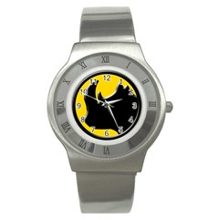 Black Rhino Logo Stainless Steel Watch by BangZart