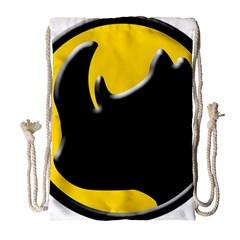 Black Rhino Logo Drawstring Bag (large) by BangZart