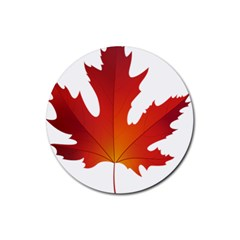 Autumn Maple Leaf Clip Art Rubber Coaster (round)  by BangZart