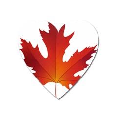 Autumn Maple Leaf Clip Art Heart Magnet by BangZart
