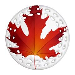 Autumn Maple Leaf Clip Art Ornament (round Filigree) by BangZart