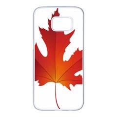 Autumn Maple Leaf Clip Art Samsung Galaxy S7 Edge White Seamless Case by BangZart