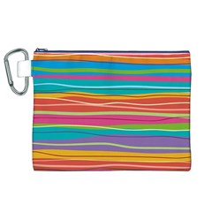 Colorful Horizontal Lines Background Canvas Cosmetic Bag (xl) by TastefulDesigns