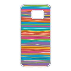 Colorful Horizontal Lines Background Samsung Galaxy S7 Edge White Seamless Case by TastefulDesigns