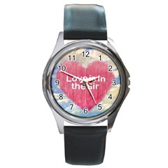Love Concept Poster Design Round Metal Watch by dflcprints