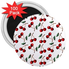 Cherry Red 3  Magnets (100 Pack) by Kathrinlegg
