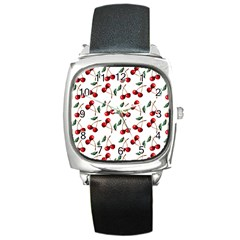 Cherry Red Square Metal Watch by Kathrinlegg