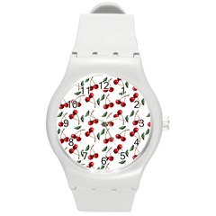 Cherry Red Round Plastic Sport Watch (m) by Kathrinlegg