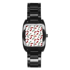 Cherry Red Stainless Steel Barrel Watch by Kathrinlegg
