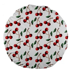Cherry Red Large 18  Premium Flano Round Cushions by Kathrinlegg