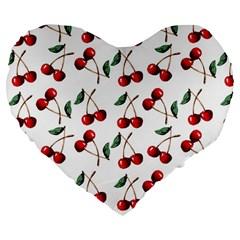 Cherry Red Large 19  Premium Flano Heart Shape Cushions by Kathrinlegg