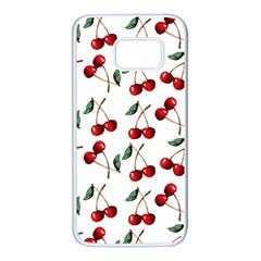 Cherry Red Samsung Galaxy S7 White Seamless Case by Kathrinlegg