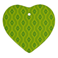 Decorative Green Pattern Background  Heart Ornament (two Sides) by TastefulDesigns