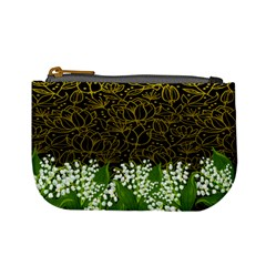 Dark Gold Green Flowers Mini Coin Purse by PattyVilleDesigns