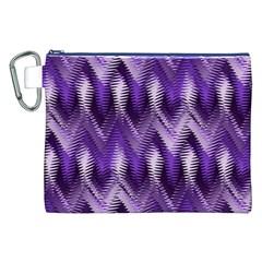 Purple Wavy Canvas Cosmetic Bag (xxl) by KirstenStar