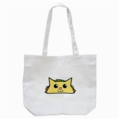 Taco Cat Tote Bag (white) by derpfudge