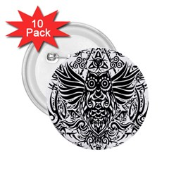 Tattoo Tribal Owl 2 25  Buttons (10 Pack)  by Valentinaart