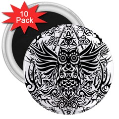 Tattoo Tribal Owl 3  Magnets (10 Pack)  by Valentinaart