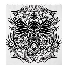 Tattoo Tribal Owl Shower Curtain 66  X 72  (large)  by Valentinaart