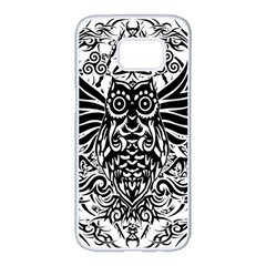 Tattoo Tribal Owl Samsung Galaxy S7 Edge White Seamless Case by Valentinaart