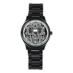 Tattoo Tribal Street Art Stainless Steel Round Watch by Valentinaart