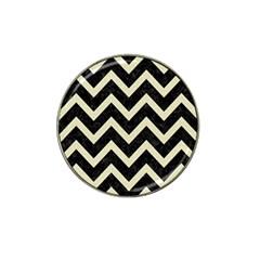 Chevron9 Black Marble & Beige Linen Hat Clip Ball Marker by trendistuff