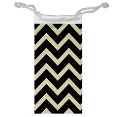 Chevron9 Black Marble & Beige Linen Jewelry Bag by trendistuff