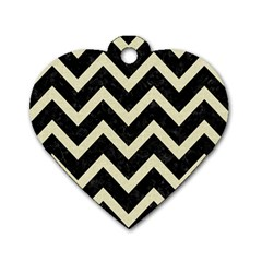 Chevron9 Black Marble & Beige Linen Dog Tag Heart (one Side) by trendistuff