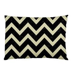 Chevron9 Black Marble & Beige Linen Pillow Case (two Sides) by trendistuff