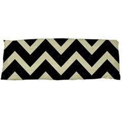 Chevron9 Black Marble & Beige Linen Body Pillow Case (dakimakura) by trendistuff