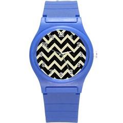 Chevron9 Black Marble & Beige Linen Round Plastic Sport Watch (s) by trendistuff