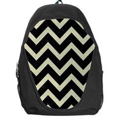 Chevron9 Black Marble & Beige Linen Backpack Bag by trendistuff