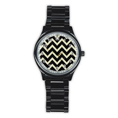 Chevron9 Black Marble & Beige Linen Stainless Steel Round Watch by trendistuff