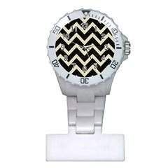 Chevron9 Black Marble & Beige Linen Plastic Nurses Watch by trendistuff
