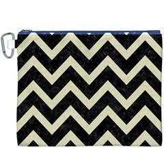 Chevron9 Black Marble & Beige Linen Canvas Cosmetic Bag (xxxl) by trendistuff