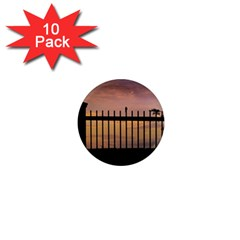 Small Bird Over Fence Backlight Sunset Scene 1  Mini Magnet (10 Pack)  by dflcprints