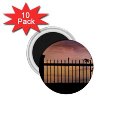 Small Bird Over Fence Backlight Sunset Scene 1 75  Magnets (10 Pack)  by dflcprints