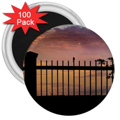 Small Bird Over Fence Backlight Sunset Scene 3  Magnets (100 Pack) by dflcprints
