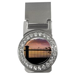 Small Bird Over Fence Backlight Sunset Scene Money Clips (cz)  by dflcprints