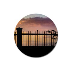 Small Bird Over Fence Backlight Sunset Scene Magnet 3  (round) by dflcprints