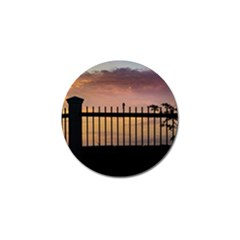 Small Bird Over Fence Backlight Sunset Scene Golf Ball Marker (10 Pack) by dflcprints