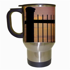Small Bird Over Fence Backlight Sunset Scene Travel Mugs (white) by dflcprints