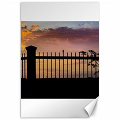 Small Bird Over Fence Backlight Sunset Scene Canvas 20  X 30   by dflcprints